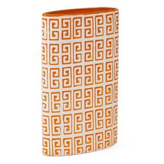 This orange-accented Greek key ceramic vase is a timeless piece that adds a contemporary look to any home. The beautiful orange accents provide a burst of color, while the sturdy ceramic construction makes this a perfect addition to your home or office.