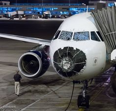 August 7, 2015 - Delta Air Lines Flight 1889, a A320 from Boston to Salt Lake City diverted to Denver, CO after sustaining substantial damage to the nose cone and windshield due to hail.