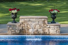 pool fountains and waterfalls | ... look of a waterfall to any pool fountain or swimming pool is to use