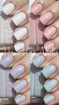 love these essie pastels; clockwise from top left: instant hot, like to be bad, who is the boss, love & acceptance