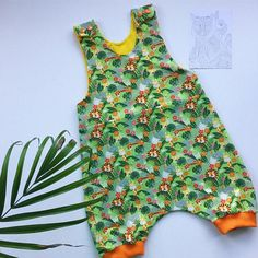 Jungle animal summer dungarees! A great gift for a baby & a wonderful addition to a kids outfit. These comfortable child / toddler dungarees are designed to be a loose fit for ease of movement with no restrictions. The baby dungarees are roomier in the seat, so great for cloth bums and disposables alike. In this playful outfit your baby, toddler or child is sure to stand out from the crowd. All seams are overlocked for extra strength and finished to a very high standard, making t...