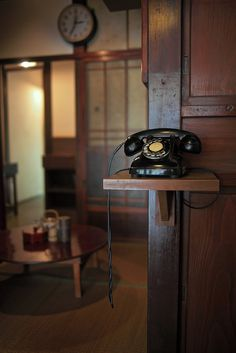 """Kuro Denwa"" / Black Phone / Japanese old phone / 黒電話 … Showa Period, Showa Era, Vintage Phones, Japanese Interior, Old Phone, Japanese House, Japanese Culture, Wabi Sabi, Sweet Home"