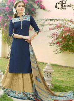 Straight Cut Blue Cotton Salwar Kameez