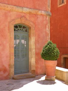 This will be the color of our front door (taken from a picture from Roussillon, France). Luberon Provence, Provence France, Old Doors, Windows And Doors, Fachada Colonial, French Countryside, South Of France, Exterior Paint, Doorway