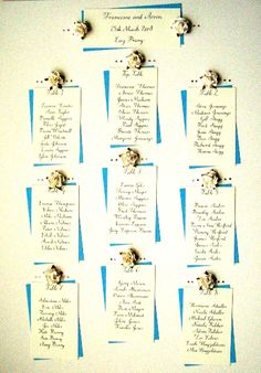 This was one of my very first 'contemporary wedding table plans' - which was an experiment with handwriting guests' names onto cards and then sticking them to the board, rather than writing directly onto the board. Turned out to be quite popular. Aqua Wedding, Floral Wedding, Diy Wedding, Dream Wedding, Wedding Ideas, Wedding Stuff, Seating Plan Wedding, Wedding Table, Wedding Types