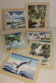 6 Vintage Watercolor Prints Artwork Russ Smiley 8 x 9 3/4 Florida Everglades