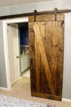 Easiest & Cheapest Way to Build a Rustic Barn Door. How to Build a Rustic Barn Door - Charleston Crafted. Rustic Room, Bedroom Rustic, Rustic Livingroom Ideas, Country Living Room Rustic, Rustic Closet, Bedroom Romantic, Modern Bedroom, The Doors, Sliding Doors