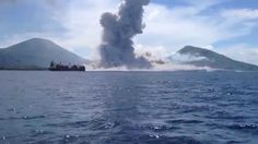 Video of actual eruption in Papua New Guinea and the shockwave from the eruption, while anticipated, slams a small boat miles away.