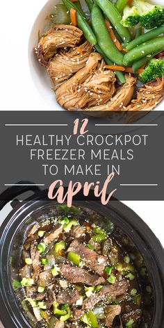 12 Healthy Crockpot Freezer Meals to Make in April (Free Grocery List and Calendar Included! Healthy Freezer Meals, Healthy Crockpot Recipes, Slow Cooker Recipes, Real Food Recipes, Cooking Recipes, Crockpot Meals, Freezer Recipes, Cooking Tips, Gf Recipes