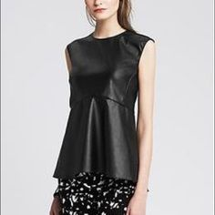 *HP*. Banana Republic faux leather peplum top Banana Republic faux leather peplum top.  Size 4.  No trade.  No paypal.  Price is firm.  Ask if you want me to trigger shipping discount.  (AD) Banana Republic Tops