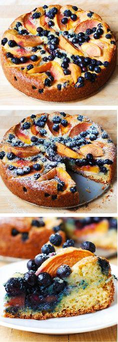Delicious, light and fluffy Peach Blueberry Greek Yogurt Cake made in a springform baking pan. Greek yogurt gives cake a richer texture! #peach_desserts