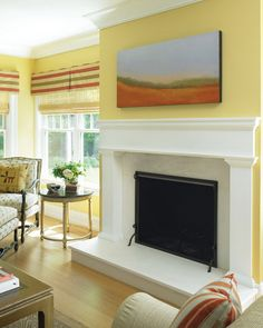 Yellow and White Living Room with Fireplace