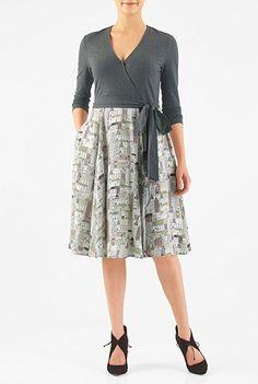 eShakti Women's Graphic print mixed media surplice dress XS-0 Tall Charcoal/multi http://amzn.to/2ihG9gP