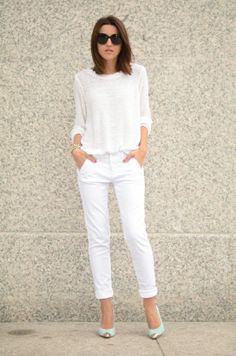 How To Wear White Pants Work Outfits Fashion Trends 40 Ideas Fashion Mode, Fashion Pants, Trendy Fashion, Fashion Outfits, Womens Fashion, Fashion Tag, All White Outfit, White Outfits, Summer Outfits