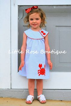 Girls Seersucker Crab Dress $35.00