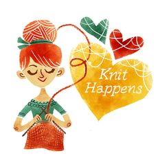 Knit Happens Printable Art print INSTANT DOWNLOAD Digital Illustration Knitting Crotchet Crafting