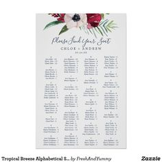 Shop Tropical Breeze Alphabetical Seating Chart created by FreshAndYummy. Reception Seating Chart, Table Seating Chart, Wedding Posters, Modern Wedding Invitations, Green Wedding, Summer Wedding, Wedding Signs, Wedding Table, Green Theme