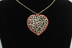 Quilled Necklace Gold on Red Heart Paper von BarbarasBeautys, $13.00