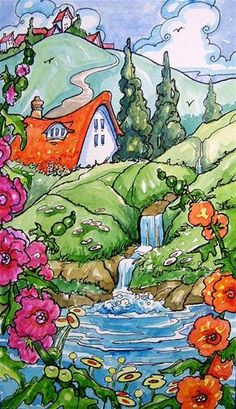 """Posies by the Spring Storybook Cottage Series"" - Original Fine Art for Sale - © Alida Akers Alida, I love the little eyebrow window in the roof. And the waterfall."