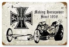 Schneider Racing Cams Tin Metal Sign, a nostalgic retro vintage reproduction, automotive custom hot rod & drag racing. Vintage Menu, Vintage Metal Signs, Vintage Wood, Garage Signs, Garage Art, Cool Garages, Metal Tins, Shop Signs, Metal Wall Art