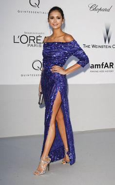 Nina Dobrev in blue sequin off the shoulder Elie Saab. Shoes by Jimmy Choo. amFAR gala, Cannes 2012.