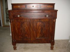 Antique Biedermeier Flame Mahogany Buffet Circa Early 1900'S | eBay $650.00- The top little drawers are weird a different color. A replacement or refinish? Still a nice piece.-EFM