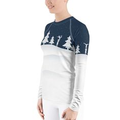 This dreamy print is full of snow, acro, love and a mood of fairytales. It's slim fit, flat ergonomic seams, and the longer body give extra comfort. Rash Guard Women, Women's Shirts, Acro, Stretch Fabric, Snow, Gym, Flat, Blouse, Winter