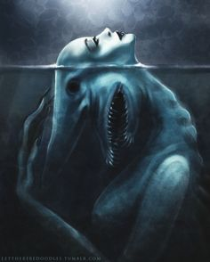 (( Goblin Shark Siren. An assignment for my digital painting class. :)…