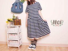 Moi 風格服飾深藍白條紋棉麻洋裝