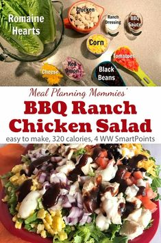 This BBQ Ranch Chicken Salad from Meal Planning Mommies is healthy and flavorful and comes together quickly - only 4 Weight Watchers Freestyle SmartPoints! Salade Weight Watchers, Plats Weight Watchers, Weight Watchers Meals, Ranch Chicken Salad Recipe, Salad With Chicken, Ranch Recipe, Grilled Chicken Salad, Clean Eating Snacks, Healthy Eating