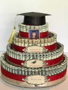 Attractive Money Cake Decorations pertaining to How I Built My Stepdaughter& Money Cake – Maria Kang Picture Money Birthday Cake, Money Cake, Birthday Gifts, Money Lei, Earn Money, Birthday Pizza, Graduation Celebration, Graduation Day, Ideas For Graduation Party