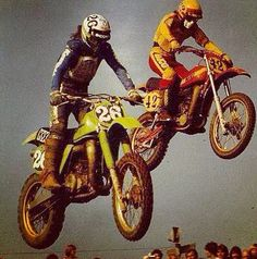 Jeff Ward and Danny Magoo Chandler Vintage Motocross, Vintage Motorcycles, Marty Smith, Bmx Pedals, Enduro Motocross, Tin Shed, Bon Scott, Dirtbikes, Mini Bike