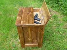 Reclaimed pallet wood nightstand with hidden gun safe