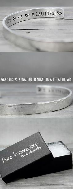 I AM STRONG, BRAVE, CARING, HOPEFUL, GOOD, ME, BEAUTIFUL. This hammered inspiration cuff  will serve as a beautiful reminder of all the things you are. It's so versatile it will go well with just about anything. Pure Impressions creates its hand stamped jewelry and inspiration jewelry one at a time.