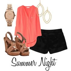 I like this look. Loose, but still kinda sexy top with shorts and a wedge. Pretty earrings and watch. I'd definitely wear this.