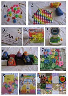 2.  hammer stickers on soft surface, 6. color match with cars, 8 glue shapes in shape book, 10. sensory boards