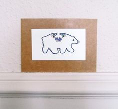 Hand Painted Polar Bear Watercolour by TigerlilyDesignStore