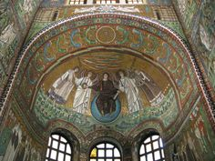 The Mosaics at the Basilica of San Vitale in Ravenna Italy. The Mosaics are from the Byzantine era or so. Notice that Jesus is sitting on a blue orb perhaps they knew the earth was a sphere back then. Early Christian, Christian Art, History Images, Art History, Church History, Ravenna Italy, Kingdom Of Italy, Byzantine Art, Medieval Art
