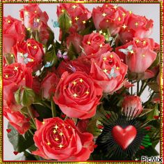 The perfect Roses Red Hearts Animated GIF for your conversation. Beautiful Flowers Images, Flower Images, Love Flowers, Beautiful Roses, Cellphone Wallpaper, I Wallpaper, Good Morning Beautiful Gif, Illusion Photos, Valentine Picture