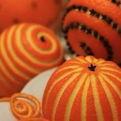 Use a peeler to carve lines into an orange & add whole cloves for decoration & a wonderful aroma!