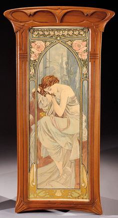 Art Nouveau print, framed in rosewood and mahogany. Stamped «Michel Quatrefargue Montpellier» and hand signed «A.B.» Dimensions : 47 2/3 X 25 ¾ in | JV