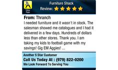I needed furniture and it wasn't in stock. The salesman showed me catalogues and I had it...