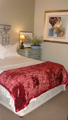 Guest Bedroom with Old Gate as a headboard.