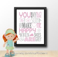 you are my sunshine typography print, baby shower gift, nursery subway art, girl nursery quotes, kids wall art, baby quotes, nursery quote via Etsy