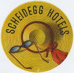 Artist Unknown, Scheidegg Hotels (Luggage Label) 1950 ca. Luggage Stickers, Luggage Labels, Vintage Luggage, Vintage Travel, Hotel Logo, Travel Tags, Vintage Hotels, Vintage Graphic Design, 3d Cards