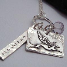 Greyhound Necklace - Greyhound Jewelry -Love Travels Greyhound Angel Trio Necklace - Remembrance necklace