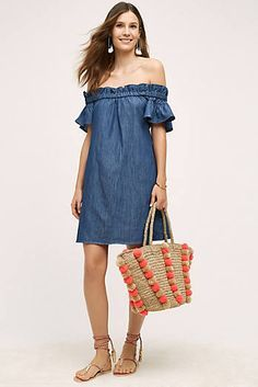 Corey Lynn Calter Denim Off The Shoulder Dress Dark Denim Anthropologie anthro days Dress Outfits, Dress Up, Fashion Outfits, Womens Fashion, Prom Dress, Cute Dresses, Casual Dresses, Denim Dresses, Spring Summer Fashion