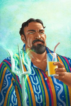 I don't know why this person's interpretation of Poseidon cracks me up, but it does. Maybe because he's holding a trident in one hand and a tropical drink in the other? haha