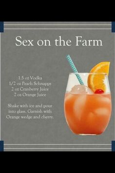 Sex on the Farm drink Vodka, peach schnapps, cranberry juice and orange juice. Also called Jamaican Sweetheart - swap cranberry for strawberry mix Bar Drinks, Cocktail Drinks, Refreshing Drinks, Yummy Drinks, Happy Drink, Fingerfood Party, Snacks Für Party, Alcohol Recipes, Drink Recipes