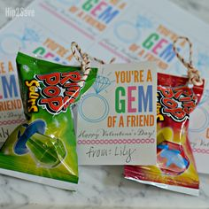 """Create a cute homemade Valentine using a candy Ring Pop and our """"You're a Gem of a Friend"""" FREE printable card!"""